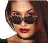 Halloween -  Halloween/horror verkleed bril zwart met schedels voor dames/volwassenen - Halloween verkleed zonnebril