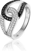 Montebello Ring Genipia - Dames - Zilver Gerhodineerd - Zirkonia - maat 58 - 18.5