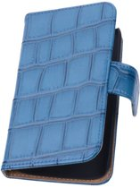 Samsung Galaxy Note 4 N910F Blauw | Glans Croco bookstyle / book case/ wallet case Hoes  | WN™
