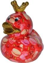 XL spaarpot eend rood met gouden kroontje en gekleurde koekjes en andere lekkernij 28 cm