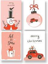 Kerstkaarten met enveloppen - 12 stuks - Kleurrijk - DesignClaud
