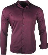 Ferlucci - Trendy Italiaans Effen Heren Overhemd - Napoli - Oxblood