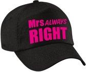 Mrs Always right pet / cap zwart met roze letters voor dames - verkleedpet / feestpet - vrijgezellenfeest
