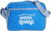 Blauwe tas, messenger bag POPQORN, model Cruz