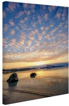 Zonsondergang op het strand Canvas 20x30 cm - klein - Foto print op Canvas schilderij (Wanddecoratie woonkamer / slaapkamer) / Zee en Strand