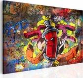 Schilderij - Graffiti Master, Rood/Geel, 1luik