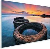 Zonsondergang boven het Sipadan eiland in het Aziatische Maleisië Plexiglas 90x60 cm - Foto print op Glas (Plexiglas wanddecoratie)