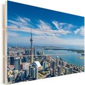 Luchtfoto van Toronto met uitzicht op het Ontariomeer in Canada Vurenhout met planken 90x60 cm - Foto print op Hout (Wanddecoratie)