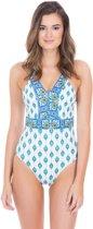 Cabana Life UV beschermend Badpak Dames - Groen/Wit - Maat 44 (XL)
