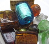 Glaskralen / zilverfolie kralen kleuren mix, grote kralen ca.1000 gram