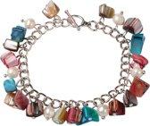 Zoetwaterparel en parelmoeren armband Pearl Color Shell Chip