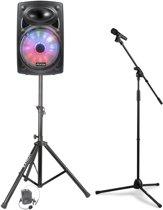 Mobiele geluidsinstallatie Fenton FPS15 accuspeaker met Bluetooth, draadloze microfoons en standaards - 700W
