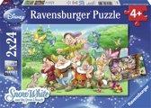 Ravensburger Disney Princess. 7 Dwergen- Twee puzzels van 24 stukjes - kinderpuzzel