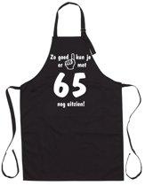 Mijncadeautje - Luxe Keukenschort - Zo goed kun je er uitzien 65 jaar - Unisex - Zwart - Leeftijd