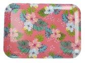 Dienblad met bloemetjes motief RUTH - Roze - Kunststof - 43.5 x 31.5 cm