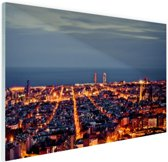 Barcelona skyline in de avond Glas 120x80 cm - Foto print op Glas (Plexiglas wanddecoratie)