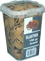 150 gram - Elastiek breed - naturel - 80 x 8 mm  - in plastic pot