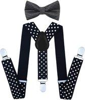 Fako Fashion® - Kinder Bretels Met Vlinderstrik - Stippen - 65cm - Zwart