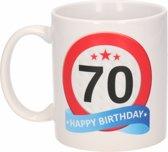 Verjaardag 70 jaar verkeersbord mok / beker