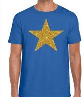 Gouden ster glitter fun t-shirt blauw heren - heren shirt Gouden ster M