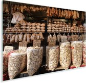 Zakken vol met hartige paranoten op een exotische markt Plexiglas 180x120 cm - Foto print op Glas (Plexiglas wanddecoratie) XXL / Groot formaat!