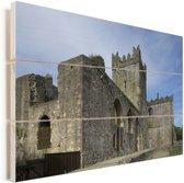 Tintern Abbey ruïnes in Wales Vurenhout met planken 90x60 cm - Foto print op Hout (Wanddecoratie)