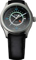 Traser P59 Aurora GMT Anthracite leather - horloge - Ø 42 mm - zilver / blauw