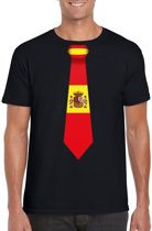 Zwart t-shirt met Spaanse vlag stropdas heren - Spanje supporter M