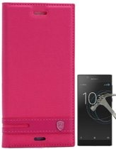 Teleplus Sony Xperia L1 Clamshell Case Pink + Glass Screen Protector hoesje