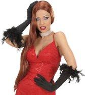 Lange zwarte handschoenen met veren voor volwassenen - Verkleedattribuut