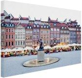 Oude Stad Warschau Canvas 80x60 cm - Foto print op Canvas schilderij (Wanddecoratie woonkamer / slaapkamer) / Steden Canvas Schilderij