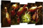 Canvas schilderij Spel | Bruin, Groen | 150x80cm 5Luik