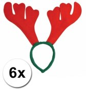 6x Rendier diadeem rood met groen - kerst