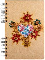 Houten notitieboek - A6 – Blanco – Hartje
