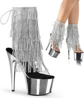 EU 38 = US 8 | ADORE-1017RSF | 7 Heel, 2 3/4 PF Open Toe/Heel Lace-Up Fringe Ankle Boot