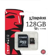 Het Origineel Kingston 128GB Micro SDHC Class 10 UHS-I 45R FlashCard Single Pack w/o Adapter