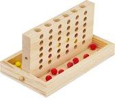 relaxdays 4 op een rij - gezelschapsspel - reisspel - hout - 2 x 18 stenen - vier op een
