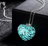 Glow in the Dark Ketting hart Turquoise - Silver Plated