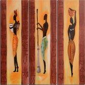 Schilderij 3 luik 90x90 Afrika Artello - Handgeschilderd