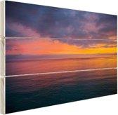 Zonsopkomst over de Middellandse Zee Hout 30x20 cm - klein - Foto print op Hout (Wanddecoratie)