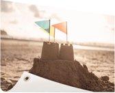 Zandkasteel op het strand Tuinposter 200x100 cm - Tuindoek / Buitencanvas / Schilderijen voor buiten (tuin decoratie) XXL / Groot formaat!