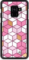 Galaxy A8 Plus 2018 Hardcase Hoesje Pink-gold-white Marble