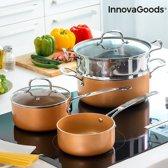 InnovaGoods Kitchen Cookware Koper-Effect pannenset met stoompan