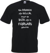 Mijncadeautje - T-shirt - zwart - maat 3XL- Alle mannen zijn gelijk - februari