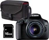 Canon EOS 2000D 18-55 DC + Cameratas + 16GB Geheug