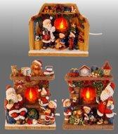 Kersthuis - Kerstman Openhaard met vlam - 3 assortie