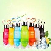 Kleur Zwart Waterfles - drinkfles met fruitfilter infuser en citruspers 650ml Met luxe RVS dop