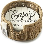 Riviera Maison Enjoy Cheers Coasters - Onderzetters - set v 4 - Wit/naturel - Hout/rustic rattan