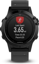 Garmin Fenix 5 saffier - GPS multisporthorloge - smartwatch - polshartslagmeting - Ø 47 mm - zwart