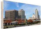 Uitzicht op het centrum van Milwaukee in Noord-Amerika Vurenhout met planken 80x40 cm - Foto print op Hout (Wanddecoratie)